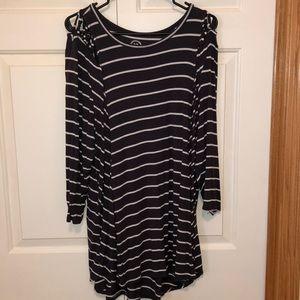 Navy & White Striped Shirt